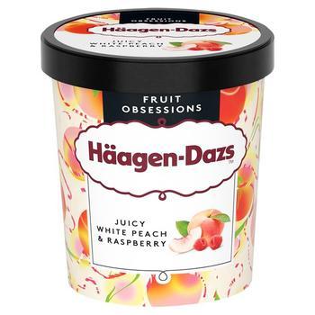 Морозиво Haagen-Dazs соковитий білий персик та малина 0.46л