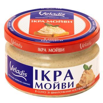 Икра Мойвы в соусе с кусочками копченого кальмара Veladis 180г - купить, цены на Ашан - фото 1