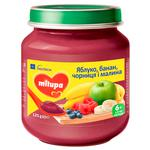 Puree Milupa fruit with bilberries for babies from 6 months 125g glass jar Poland