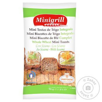 Тосты Diatosta Minigrill пшеничные из цельного зерна мини 90г - купить, цены на СитиМаркет - фото 1