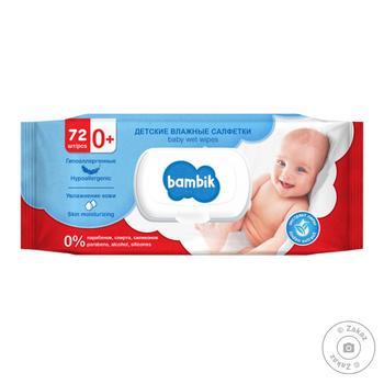 Серветки вологі Bambik Baby з екстрактом липи  72шт - купити, ціни на ЕКО Маркет - фото 1