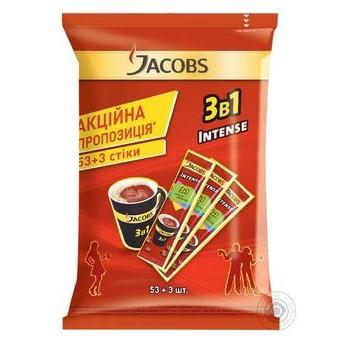 Напій кавовий Jacobs 3в1 Intense в стіках 56*12г