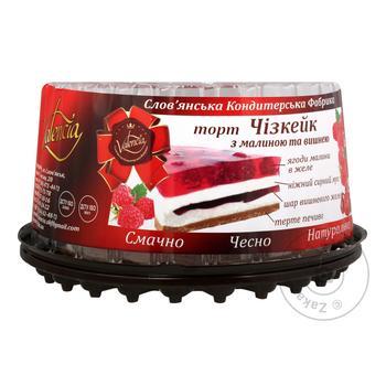 Valencia Cheesecake cake with raspberries and cherries 1kg