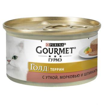 Корм Gourmet Gold Террин С уткой морковью и шпинатом для взрослых кошек 85г