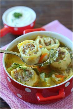 Суп із лінивими пельменями