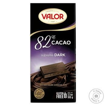 Шоколад черный Valor 82% 100г