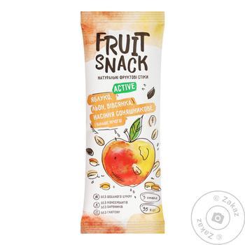 Снеки фруктовi Fruit Snack Active Яблуко-Льон-Вівсянка-Насіння соняшникове без цукру 35г
