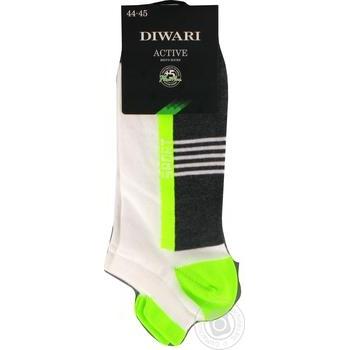 Шкарпетки чоловічі DiWaRi Active ультракороткі 16С-72СП, розмір 29, 083темно-сірий-салатовий - купить, цены на Novus - фото 1
