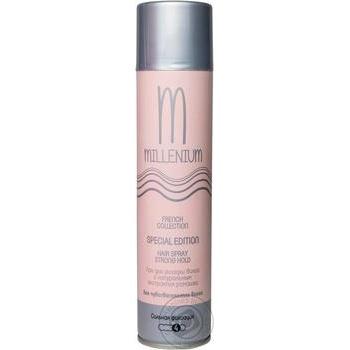 Лак Millenium Edition для укладки волос сильная фиксация с натуральным экстрактом жожоба 250мл - купить, цены на Ашан - фото 1