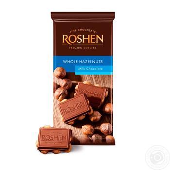 Шоколад Roshen Classic с целыми лесными орехами 90г - купить, цены на Ашан - фото 1