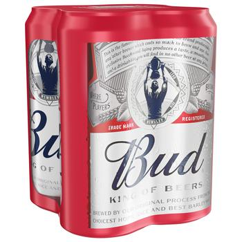 Bud Lager Beer 5% 4*0,5l can - buy, prices for CityMarket - photo 1