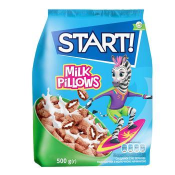 Сухие завтраки Start! зерновые подушечки с молочной начинкой 500г