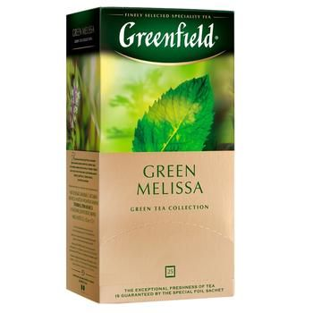 Чай Гринфилд Грин Мелисса зеленый с мелиссой и ароматом мяты и лимона 1,5г х 25шт - купить, цены на Ашан - фото 1
