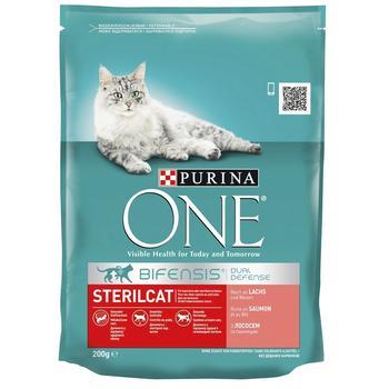 Корм Purina One Indoor сухий з лососем для стерилізованих котів 200г