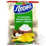Чипсы Люкс картофельные со вкусом сливочного сыра и грибов 133г