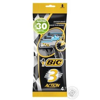 Бритва мужская BIC ACTION 3 4шт - купить, цены на СитиМаркет - фото 1
