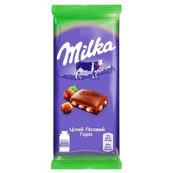 Шоколад Milka молочный с целым лесным орехом 90г - купить, цены на Ашан - фото 3