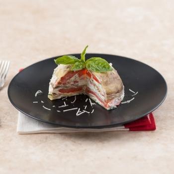 Мильфей из печеных овощей с мягким козьим сыром