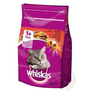 Корм сухой Whiskas для взрослых кошек с говядиной 300г