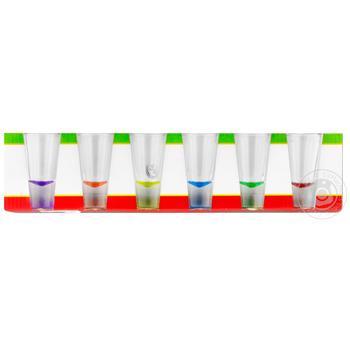 Набор рюмок Glasmark Shot цветное дно 25мл 6шт - купить, цены на МегаМаркет - фото 1