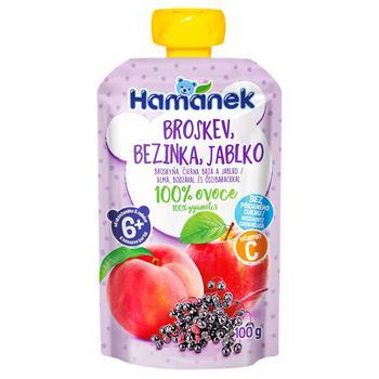 Hamanek Apple, Peach and Elderberry Puree 100g