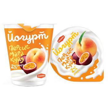 Йогурт РадиМо Персик-Маракуйя 2% 125г - купить, цены на Ашан - фото 1
