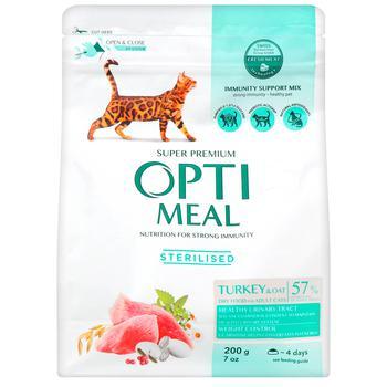 Корм Optimeal сухий індичка та овес для стерилізованих кішок та кастрованих котів 200г