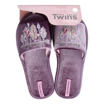 Twins HS-VL Domestic Velor with Sticker Women's Slippers Size 38-39