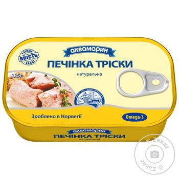 Печень трески Аквамарин натуральная 115г - купить, цены на МегаМаркет - фото 1