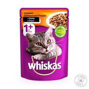 Скидка на Корм Whiskas для кошек домашняя птица в соусе 100г