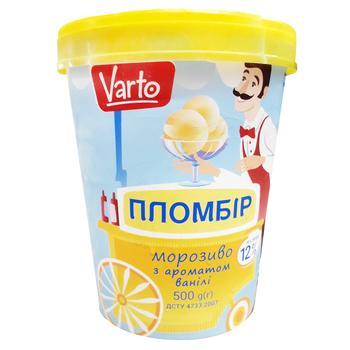 Мороженое Varto Пломбир с ароматом ванили 12% 500г