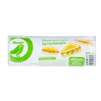 Пакетики Ашан для бутербродів поліетиленові 100шт - купити, ціни на Ашан - фото 1