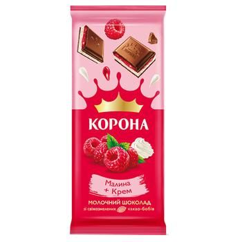 Шоколад Корона молочный малина-крем 85г