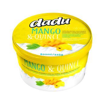 Морозиво Dadu ванільне з наповнювачами манго айва перцева м'ята 800мл
