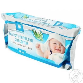 Салфетки влажные Eurogroup детские с алоэ вера 60шт - купить, цены на Таврия В - фото 1