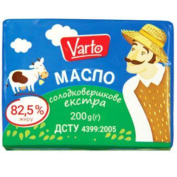 Масло Varto Экстра 82,5% сладкосливочное 200г