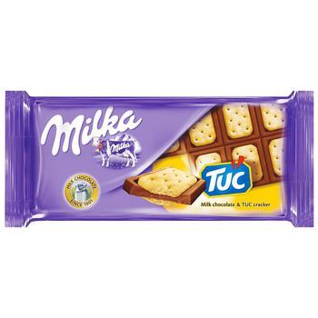Шоколад молочный Milka с соленым крекером Tuc 87г - купить, цены на Таврия В - фото 1