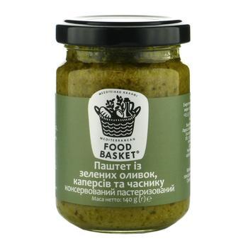 Паштет із зелених оливок каперсів та часнику консервований пастеризований Food basket 156г - купити, ціни на Novus - фото 1