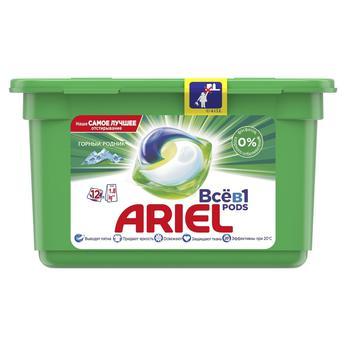 Капсулы для стирки Ariel Pods Все-в-1 Горный родник 12шт