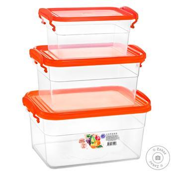 Набор контейнеров Эталон-С прямоугольных 3шт 2л+0,95л+0,55л - купить, цены на Фуршет - фото 2