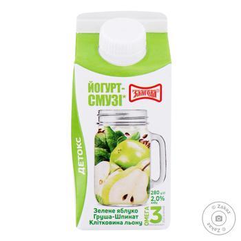 Йогурт-смузи Злагода Зеленое яблоко-Груша-Шпинат-Клетчатка льна обогащенный Омегой-3 2% 280г