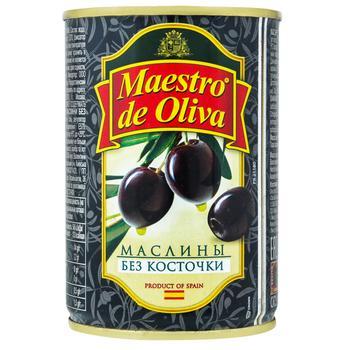 Маслини Maestro de Oliva чорні без кісточки 280г - купити, ціни на Восторг - фото 1
