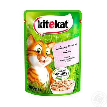 Корм для взрослых котов Kitekat с рыбой в соусе 100г - купить, цены на Ашан - фото 1