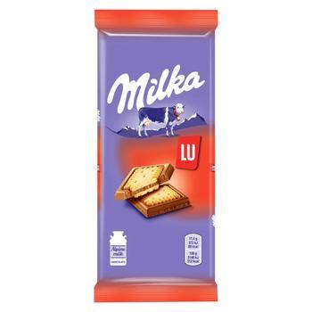 Шоколад Milka молочный с бисквитным печеньем Lu 87г - купить, цены на УльтраМаркет - фото 1