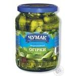 Огірки Чумак Пікулі преміум мариновані 350г скляна банка Україна