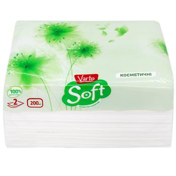 Салфетки Varto Soft мини косметические двухслойные в коробке 200шт - купить, цены на Varus - фото 1