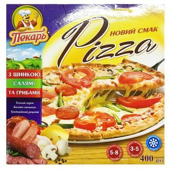 Піца Пекарь з шинкою та салямi заморожена 400г - купити, ціни на Varus - фото 1