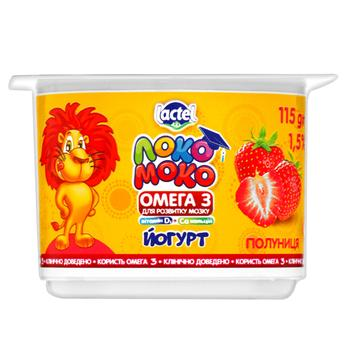 Lactel Loko Moko Strawberry Flavored Yogurt Enriched with Calcium, Omega-3 and Vitamin D3 1,5% 115g - buy, prices for CityMarket - photo 1