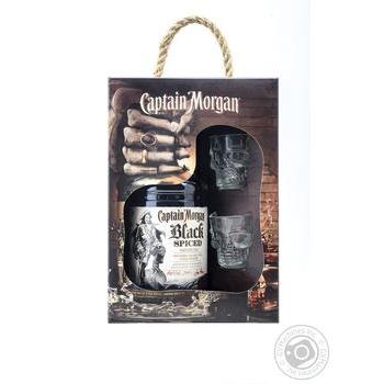 Ром Captain Morgan Spiced Black 40% 0,7л + 2 рюмки - купить, цены на Метро - фото 1