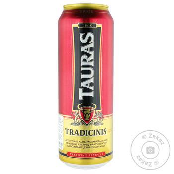 Пиво Tauras Tradicinis светлое фильтрованное 6% 0,5л - купить, цены на Ашан - фото 1